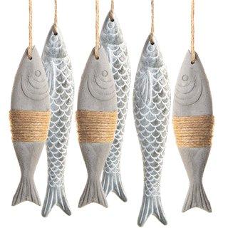 3 graue Fische + 3 grau braune Fische aus Beton - mit Band zum Aufhängen - verschiedene Größen