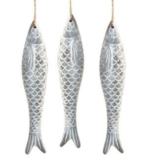 3 große graue Fische in 18 x 4 x 2,8 cm aus Beton - mit Band zum Aufhängen