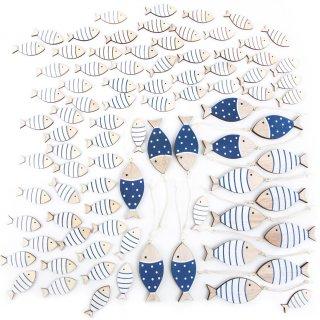 70 Mini Streudeko Fische 4 cm + 16 Fische Anhänger 7 cm blau weiß Natur
