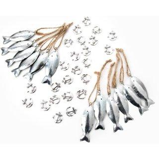 Kleine silberne Fische zum Aufhängen + Anker zum Streuen