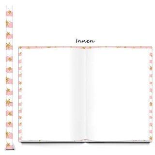 Babytagebuch Mädchen rosa weiß mit Einhorn DIN A4 - Geschenkbuch Taufe Geburt