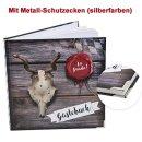 Bayerisches Gästebuch rustikal Holzoptik 21 x 21 cm - Gäste Buch zum Einschreiben mit Metallecken