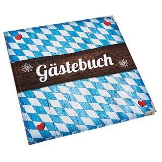 Gästebuch bayerisch blau weiß 21 x 21 cm quadratisch mit Rautenmuster mit Metallecken