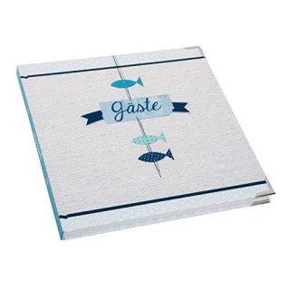 Quadratisches Gästebuch hellblau blau weiß maritim - leeres Buch zum Einschreiben - mit Metallecken