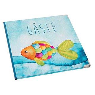 Gästebuch Regenbogenfisch blau bunt maritim 21 x 21 cm - Buch zum Einschreiben mit Metallecken