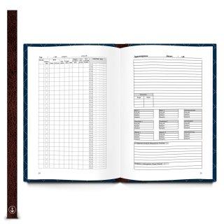 Großes DIN A4 Logbuch dunkelblau mit ANKER-Motiv - Schiffstagebuch zum Eintragen mit Metallecken