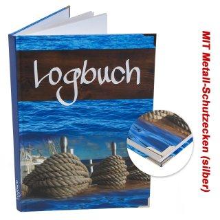 Logbuch Sailing DIN A4 blau braun Hardcover mit Metallecken - Schiffstagebuch zum Eintragen