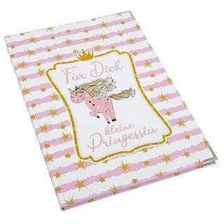 Babytagebuch Mädchen rosa weiß mit Einhorn DIN A4 mit Metallecken - Geschenkbuch Taufe Geburt