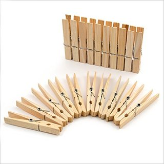 24 Wäscheklammern braun natur aus Holz Holzklammern 7 x 1 cm Deko