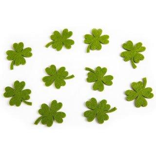10 kleine Kleeblätter aus Filz 4,5 cm - Glücksklee Streudeko mit Klebepunkt