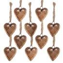 Herzanhänger gold 4 cm aus Holz -...