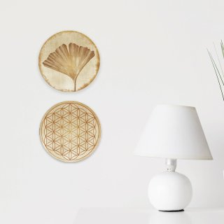 Wanddeko Bilder Set Ginkgo + Lebensblume 31 cm silber gold glänzend aus Alu Dibond - spirituelle Symbole