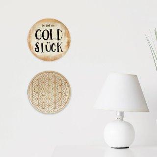 Wanddeko Bilder Set DU BIST EIN GOLDSTÜCK + LEBENSBLUME 31 cm Gold glänzend aus Alu Dibond