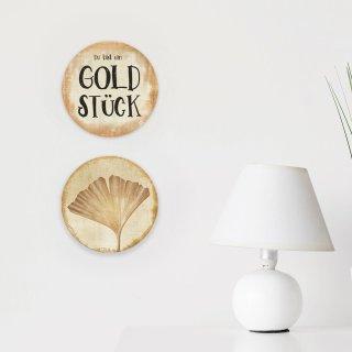 Wanddeko Bilder Set Du bist ein Goldstück + Ginkgo 31 cm gold beige glänzend aus Alu Dibond
