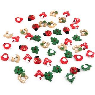 Set 46 Mini Glücksbringer Streuteile mit Klebepunkt Glückspilz Marienkäfer Kleeblatt - Glückssymbole zum Streuen