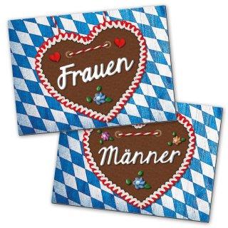 WC-Schilder Set im bayerischen Stil 14,8 x 10,5 cm blau weiß braun für Frauen & Männer