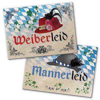 WC-Schilder Set bayerisch Weiberleid + Mannerleid blau weiß beige 14,8 x 10,5 cm - Türschild WC Bayern