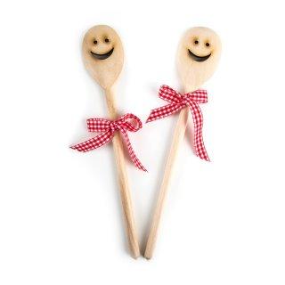 2 Kochlöffel aus Holz mit lachendem Gesicht 30 cm - natur mit roter Schleife - Geschenk Küche