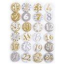 Adventskalenderzahlen Buttons beige silber gold - Zahlen...