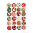 24 Adventskalender Buttons aus Blech mit Zahlen 1 - 24 -...