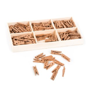 135 mini Wäscheklammern aus Holz 2,5 cm gold - kleine Holzklammern Clips Deko