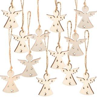 12 Weihnachtsanhänger weiß 5 cm aus Holz - Engelanhänger Christbaumschmuck