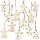 12 Weihnachtsanhänger weiß 5 cm aus Holz -...