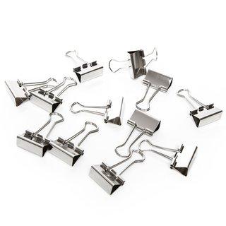 12 Metallklammern silber 2,5 cm - kleine Foldback Klammern Dekoklammern aus Metall
