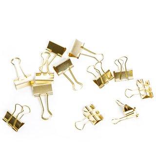 12 Metallklammern gold 2,5 cm - kleine Foldback Klammern Dekoklammern aus Metall