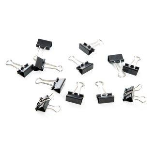 12 Metallklammern schwarz silber 2,5 cm - kleine Foldback Klammern Dekoklammern aus Metall