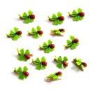 14 Mini Kleeblätter aus Filz auf Holzklammer -...