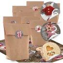 DIY Adventskalender Set: 24 Kraftpapiertüten + Aufkleber mit Zahlen - Fotomotive Weihnachten