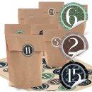 24 braune Papiertüten + Vintage Aufkleber mit Zahlen...