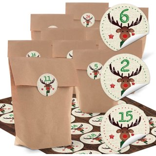 Adventskalender Bastel-Set: 24 braune Papiertüten + 24 Hirsch Aufkleber rund mit Zahlen 1 bis 24