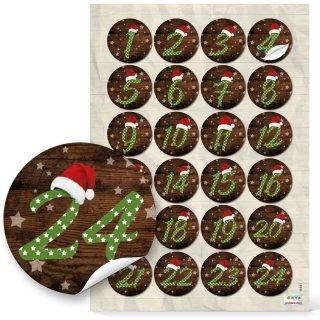 DIY Adventskalender Set 24 Teile: Papiertüten aus Kraftpapier + Zahlenaufkleber braun grün
