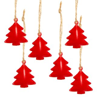 6 kleine Bäume aus Metall zum Aufhängen - Weihnachtsbaumanhänger ort 4 cm