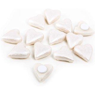 12 kleine Herzen cremefarben mit Klebepunkt - Mini Streuherzen aus Polyresin