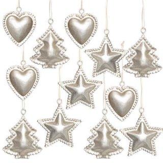 12 kleine Weihnachten Dekoanhänger Herz Stern Baum Silber glitzernd 5 cm - Metall