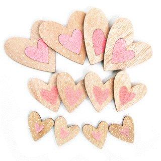 12 kleine Holzherzen Streudeko Natur rosa Glitzer - Geschenk Herzen zum Streuen Verpackung Verzierung