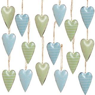 16 Herzanhänger Frühlingsdeko grün türkis blau - Herzen zum Aufhängen mit Schnur 7 cm aus Metall