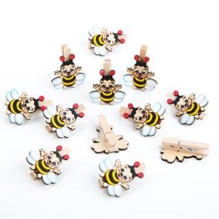 12 Bienen Klammern schwarz gelb - Deko Kindergeburtstag Give-Away Partydeko Holzklammer