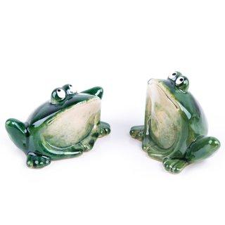 2 Frösche dunkelgrün - Frosch Paar als Deko Geschenk Froschdeko Krafttier Kraftsymbol