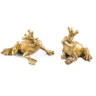 2 goldene Frösche Froschpaar Froschkönig Figuren Paar zum Hinstellen - Glücksbringer Geschenk