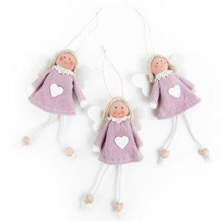 3 Engel Anhänger Stoffengel rosa weiß mit Herz - Engelanhänger als Give-Away