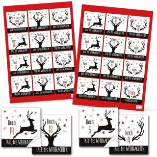 24 Rote Papiertüten lebensmittelecht zum Befüllen + Adventskalenderzahlen Aufkleber 6 x 6 cm schwarz weiß
