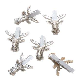 6 kleine Holzklammern mit Hirsch Kopf Geweih - Dekoklammer silberfarben