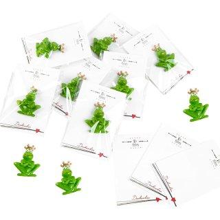 10 kleine give aways - grüne Frösche mit Krone & weiß schwarze Kärtchen Ein kleines Dankeschön