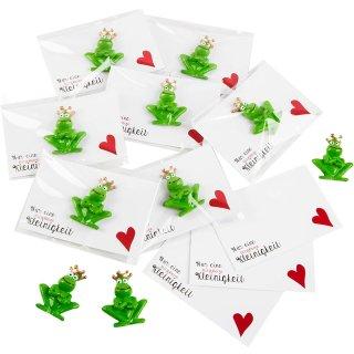 Kleine Mitgebsel mit grünem Froschkönig und weiß roten Kärtchen - 10 Stück