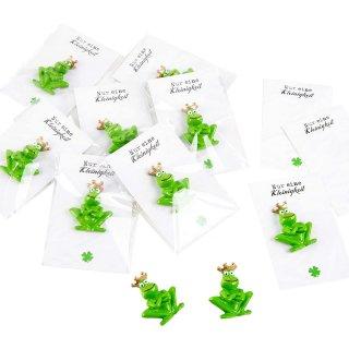 10 Mini Geschenke - grüner Froschkönig + weiß schwarze Karte Nur eine klitzekleine Kleinigkeit
