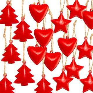 Großes Weihnachtsanhänger Set - 6 x 3 weihnachtliche Anhänger Herz Stern Baum rot